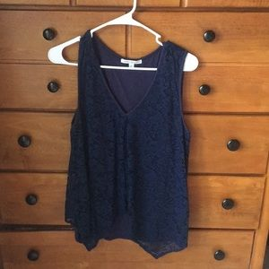 Navy Blue Flowy Tank Top